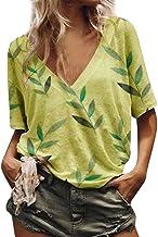 Women's Loose Casual Shirt, Sharemen Printed V-Neck Short-Sleeved Shirt Summer T-Shirt
