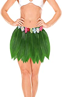 Ti Leaf Hula Skirt Hawaiian Green Grass Leaf Skirt for Women,Girls,Luau Party Supplies