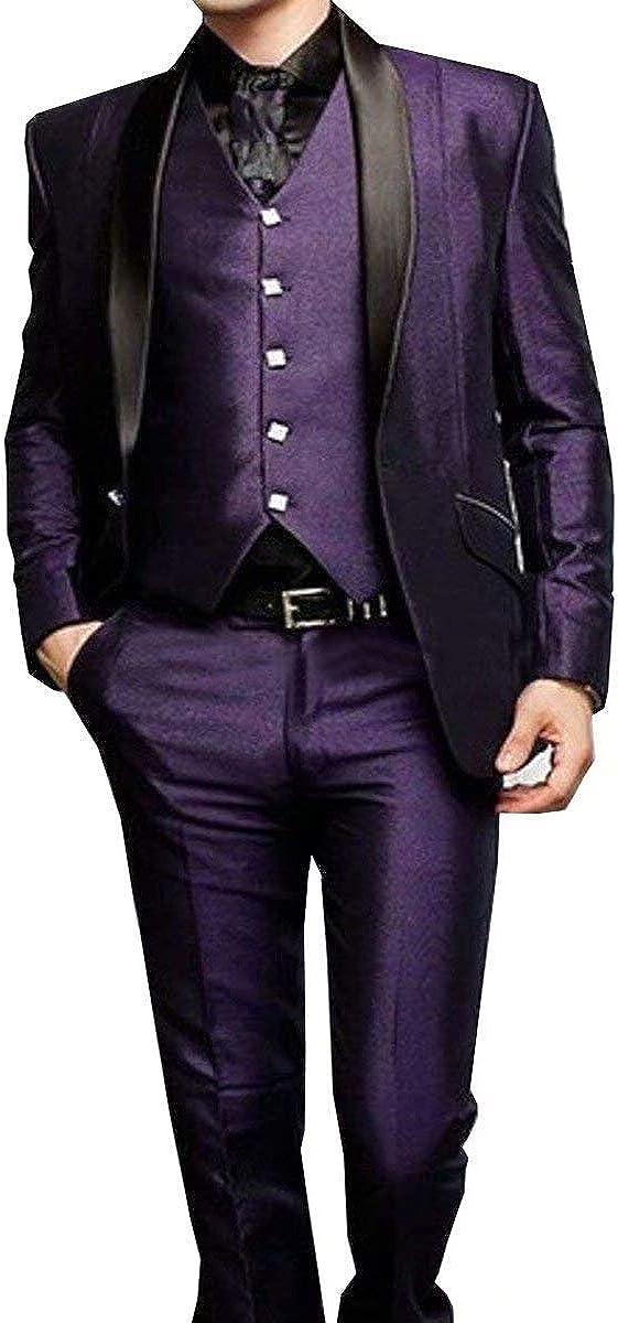 RONGKIM Men's One Button Purple Groom Tuxedos Shawl Lapel Groomsmen Wedding Dresses Prom Suits