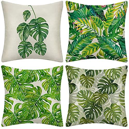 JOVEGSRVA Juego de 4 fundas de cojín de hojas de palmera decorativas de lino para casa, oficina, sofá, coche, jardín, 45 x 45 cm