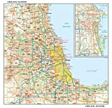 """Chicago, Illinois Wall Map, small - 15"""" x 14.5"""" Paper"""