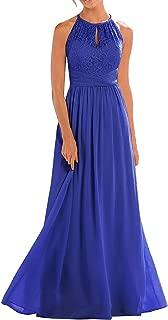 TalinaDress Women Lace Chiffon Halter Long Sheer Neck Bridesmaid Dresses E266LF
