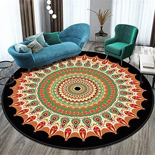 Nordic Folk Style Retro Non-Slip Carpet Round Absorbent Balcony Coffee Table Living Room Decoration Floor Mat Hotel Party Halloween Carpet