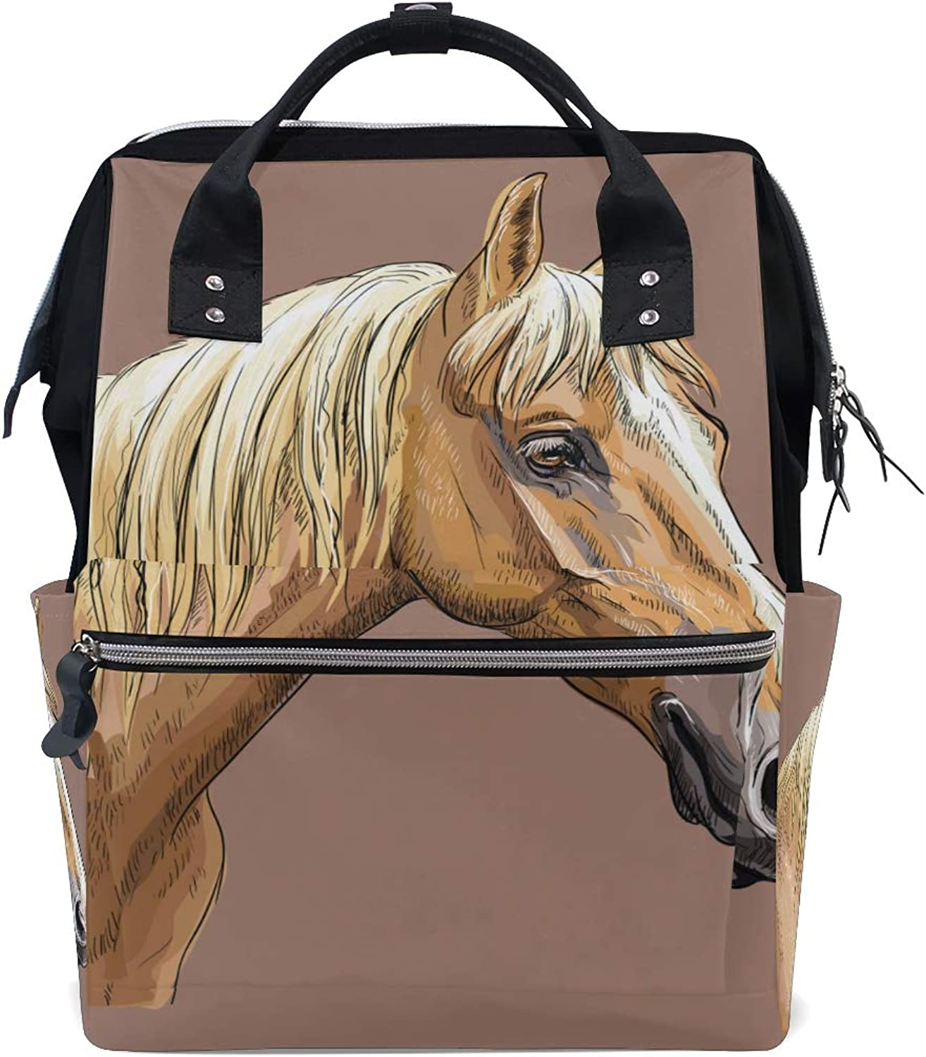 ColourLife Diaper bag Backpack Portrait Of Palomino Horse Casual Daypack Multifunctional Nappy Bags for Women Girls