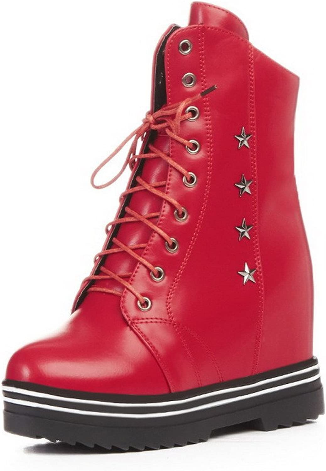 WeiPoot Women's High-Heels Soft Material Low-top Solid Lace-up Boots