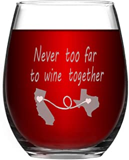 Funny Wine Glass Stemless Wine Glass Never too Far to Wine Together Birthday Gifts for Friends Father Colleague or Family Daily Use Long Distance Friendship Gift 15Oz