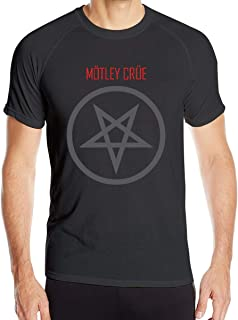 Fishoceany Man Tight Cycling Logo of Motley Crue Shout at The Devil Round Neck Quick-Dry Tee Shirt -Black,Deep Heather