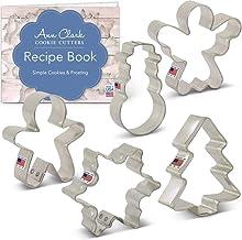 Ann Clark Cookie Cutters 5-Piece Mini Christmas Cookie Cutter Set with Recipe Booklet, Mini Christmas Tree, Mini Gingerbre...