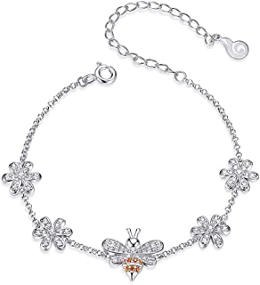 Dtja Bee Bracelet for Women Girls Sterling Silver White Gold Plated Pave Crystal Two-Tone Zirconia Little Honey Queen Bee Bumblebee CZ Flower Charm Adjustable Hand Chain Vintage Link Bracelet Gift