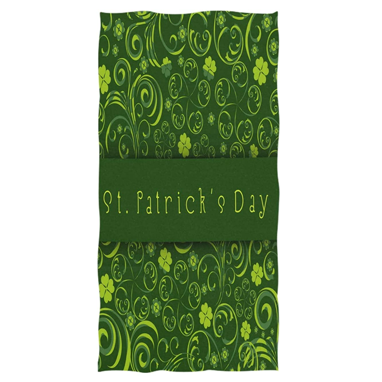 St. Patrick's Day Extra Large Hand Towels Green Floral Shamrock Clovers Irish Bath Towel Ultra Soft Highly Absorbent Multipurpose Bathroom Towel for Hand,Face,Gym and Spa Hoilday Decor,16x30 IN
