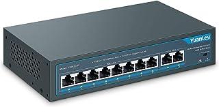 YuanLey 10 Port PoE Switch, 8 PoE+ Port 100Mbps, 2 Gigabit Uplink, 120W 802.3af/at, Extend Function, Metal, Fanless, Plug and Play