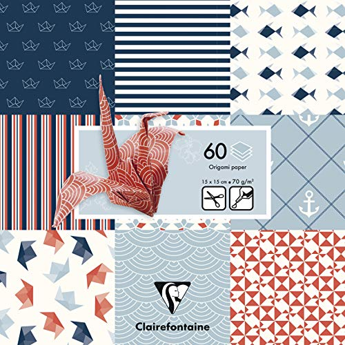 Clairefontaine 95319C Pack mit 60 Bögen Origamipapier (70 g, 15 x 15 cm, Marine) 1 Pack