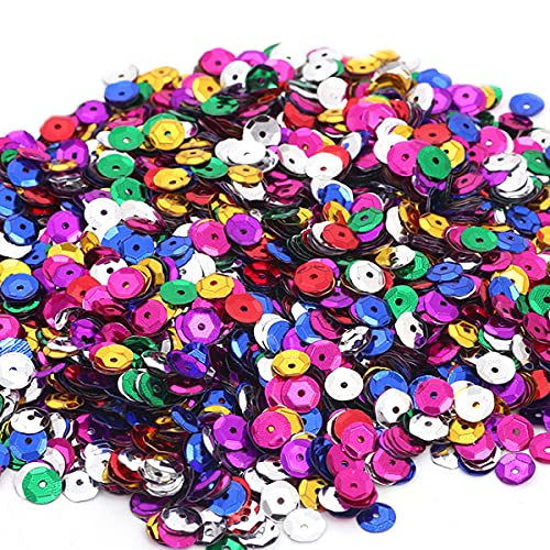 LEBQ Bulk Sequins Bulk Sequin Rainbow Color Gadgets, for DIY Handmade, a Variety of Colors Mixed, 6mm, 100g
