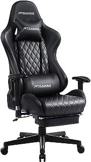 ゲーミングチェア オフィスチェア デスクチェア ゲーム用チェア リクライニング パソコンチェア ハイバック ヘッドレスト 高さ調節機能 ランバーサポート (Black)
