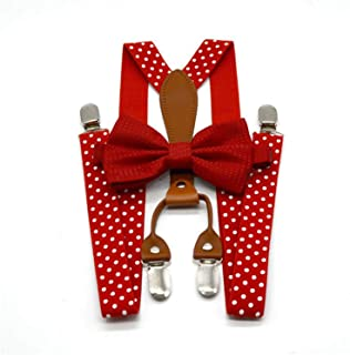 Polka Dot Bow Tie Suspenders For Men Women 4 Clip Leather Suspensorio Adult Bowtie Braces For Trousers Navy Red