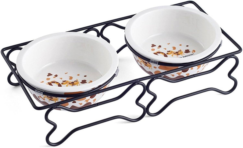 Pet Bowl, Food Bone Shaped Iron Ceramic Double Bowl Non Slip Bite Resistant Wear (color   A, Size   A)