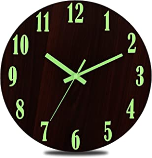 SOOMME Luminous Wall Clock 12'' Non-Ticking Silent Wooden Round Clocks Battery Operated with Night Light for Kitchen Offic...