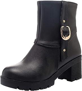 Zapatos de mujer casual con cremallera lateral, NDGDA cinturón hebilla botas de nieve salvaje cálido zapatos botas