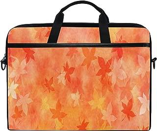 Japanese Orange Leaf Laptop Case Laptop Shoulder Bag Notebook Sleeve Handbag Computer Tablet Briefcase Carrying Case Cover with Shoulder Strap Handle 14 15inch for Men Women Travel/Business/School