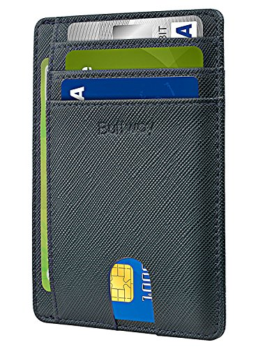 Buffway Slim Minimalist Front Pocket RFID Blocking Leather Wallets for Men Women - Cross Blackish Green