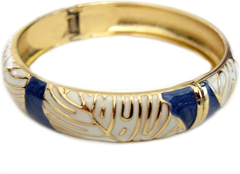 Aloha Jewelry Company Hawaiian Monstera Luau Leaves Hinged Clasp Fashion Enamel Bangle Bracelet