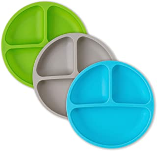 Kids Plates - Toddler Plates - Silicone Plate with Dividers for Baby, Kids & Toddlers (Blue/Gray/Green)