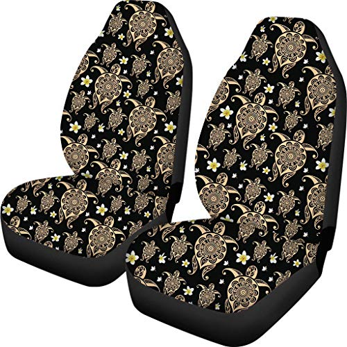 doginthehole Stylish Automotive Seat Cover Accessories Full Set 2pc Polynesian Turtle Print Car Seat Covers Universal Fit for Most Cars All Weather Protection