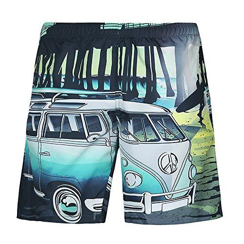 Goldatila Herren Shorts Mens Medium Länge Cartoon Bus 3D Print Grafik Sommer Strand Shorts Surfen Badehose