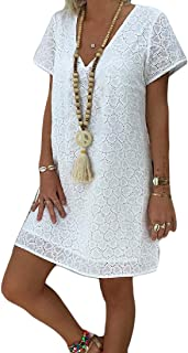 Hokny TD Women's Lace V-Neck A Line Summer Short Sleeve Hollow Out Mini Dres