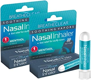 BreatheClear Aromatherapy Nasal Inhaler to Relieve Stuffy Nose, Congestion Relief, and Coughing, Pack of 2, Menthol Flavor...