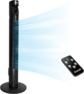 Gotoll Ventilador de Torre de Altura 93,6cm con Control Remoto, Temporizador de 12H, Oscilación de 70°, 3 Velocidades, 3 Modo de Viento, 50W, Color Negro