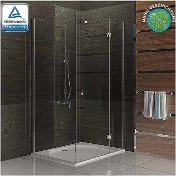 Diseño cuadrado y ducha de cristal ducha mampara de 100 x 80 x 195 easy clean mampara ducha con: Amazon.es: Bricolaje y herramientas