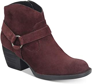 Womens Carmel Harness Faux Suede Round Toe Ankle Boots