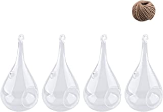 Fasmov Clear Teardrop Glass Hanging Plant Terrarium with Hanging String, 4 Pack