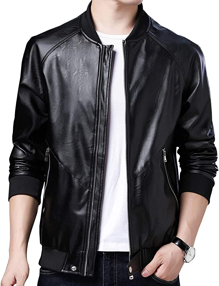 Womleys Mens Casual Slim Fit Faux Jacket Sale price Fall Lea Boston Mall Leather Winter