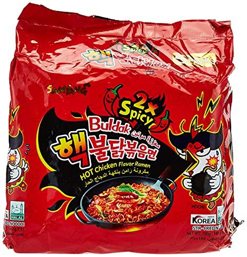 Fideos Fritos Burudakku Picantes dos veces Hekuburudakku - 5 Bolsas de 140 g