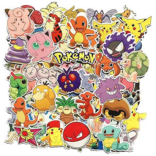 Funnyshow 80 pièces Pokémon Autocollants Paquet, Voyage Stickers Étanche pour Kid Teens, Bagages, Notebook, Snowboard, Guitar Skateboard, Bouteille deau (80 pièces)