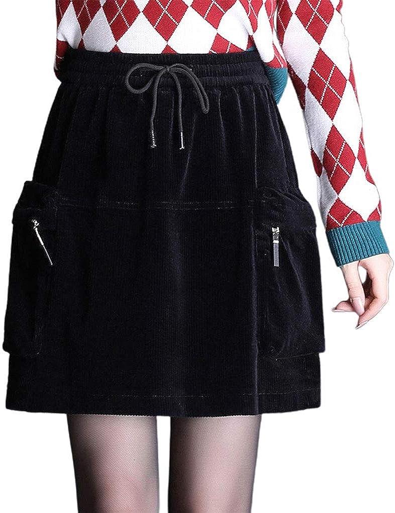 ebossy Women's Cargo Pocket Casual Drawstring Mini Short Corduroy Skirt