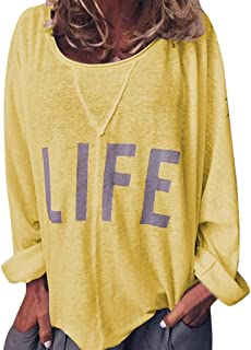 Toimothcn Women's Henly Shirts Letter Printed Long Sleeve Blouse Plus Size Tunic Tops