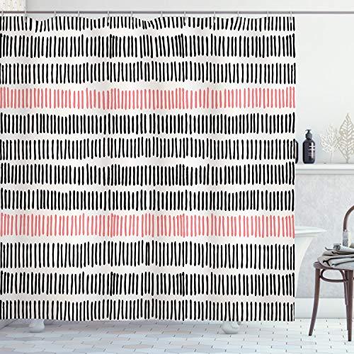 ABAKUHAUS Duschvorhang, Symmetrisches So&wellen Artiges Muster Bestrichet in Schwarz-Weiß & Rosa als Digital Druck, Blickdicht aus Stoff mit 12 Ringen Waschbar Langhaltig Hochwertig, 175 X 200 cm