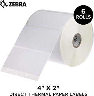Zebra - 4 x 2 in Direct Thermal Paper Labels, Z-Perform 2000D Permanent Adhesive Shipping Labels, Zebra Desktop Printer Compatible, 1 in Core - 6 Rolls