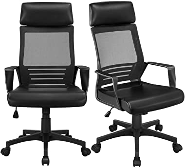 YAHEETECH 2Pcs Ergonomic Mesh Office Chairs, High Back Adjustable Computer Chair Swivel Chair with Leather Cushion Seat for B
