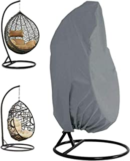 """PEPAXON Patio Hanging Chair Covers Waterproof Egg Swing Chair Cover with Zipper 75"""" H x 45"""" D Grey for Outdoor Single Swin..."""