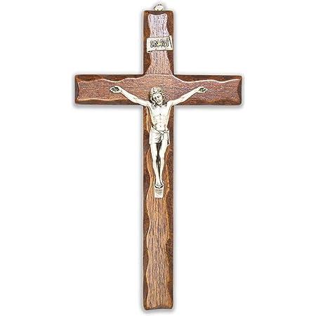 Crocifisso in Legno - da Parete - Cristo in Argento - Prodotto in Umbria Italy - 25 X 14