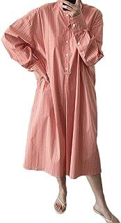 【ごはん】春夏 レディースワンピース レトロチェックドレス 長袖 ゆったり カジュアル ロングスカート 切り替え クルーネック シャツスカート 普段着 お出かけ パーティー 買い物