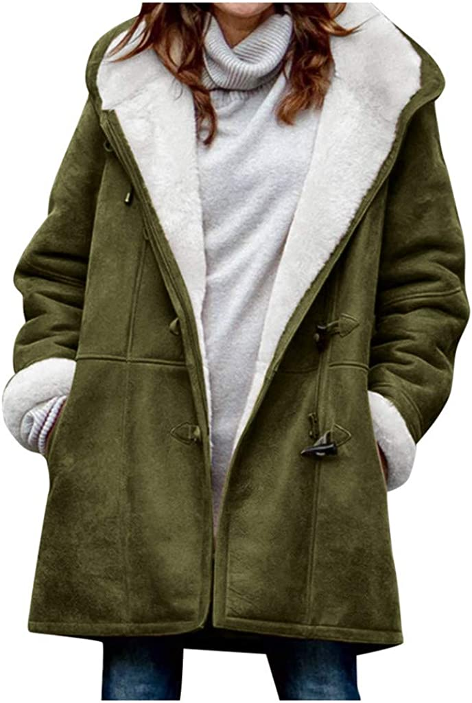 Winter Warm Coats for Women Plus Size Hooded Jackets Parka Solid Thicken Jackets Long Cotton Pea Coat