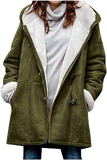 Reooly Women Winter Warm Plus Velvet Horn Buckle Pocket Coat, Ladies Plus Size Solid Long Sleeve Parka Overcoat
