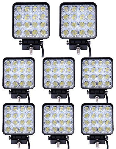 Leetop 8 x 48 vatios 16 1616 proyector LED de luz de trabajo LED para faros de coche de la lámpara de foco de luz de marcha atrás de luz adicional para faros delanteros