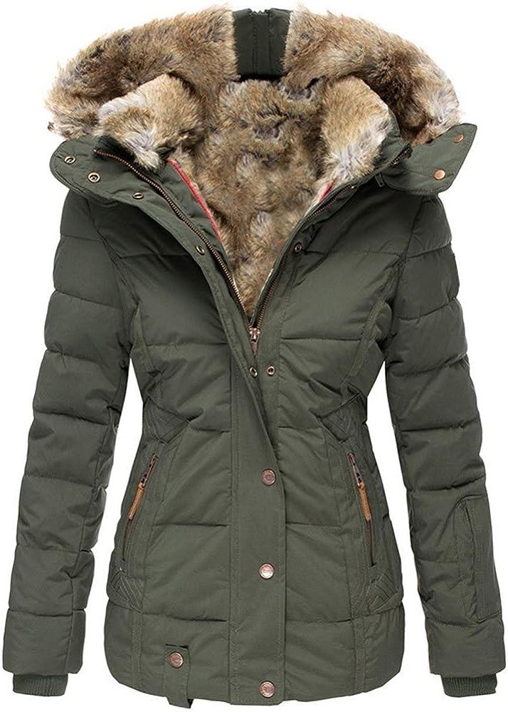 Koodred Women's Winter Warm Outwear Overcoat Hooded Faux Fur Lined Down Jacket Puffer Coat