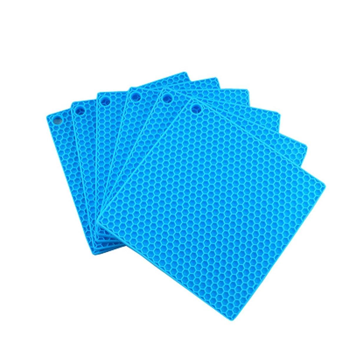 お香注文栄光の6つのエレガントな防水スクエアシリコーンプレースマット、ブルーのセット